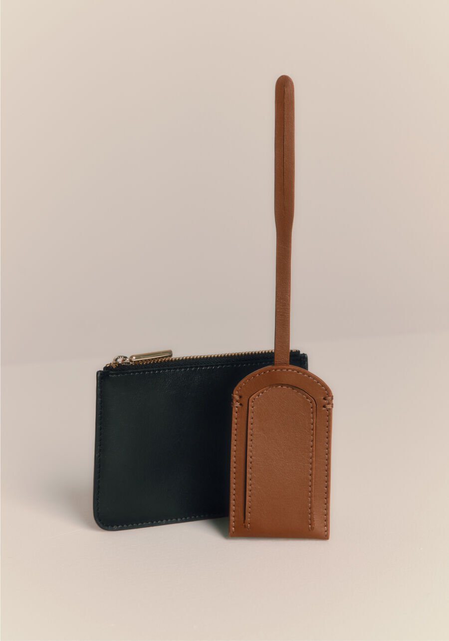 Luggage Tag and Slim Leather Zipper Pouch