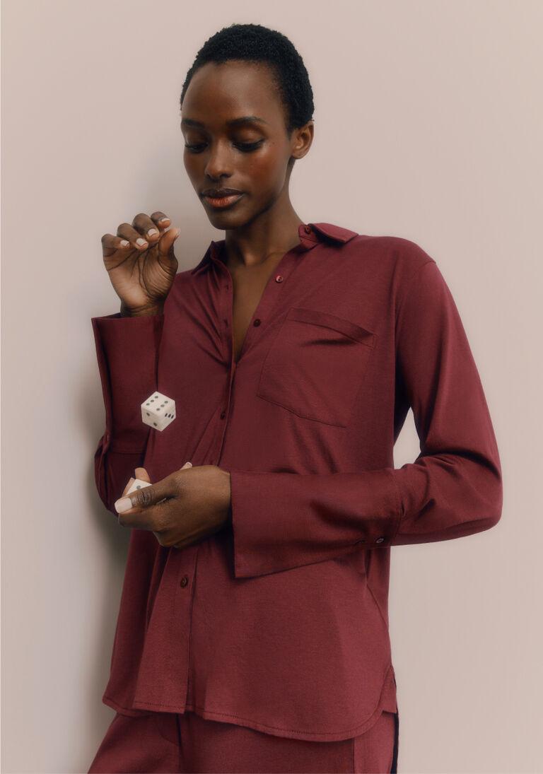 Model wearing Pima Shirt Sleep Set in Berry