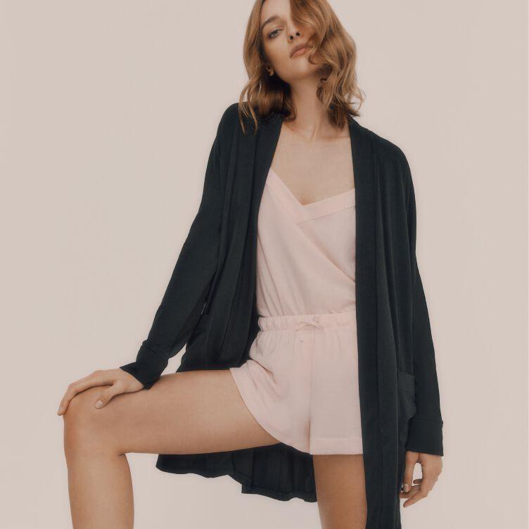 Model wearing Cuyana Pima Sleep Set