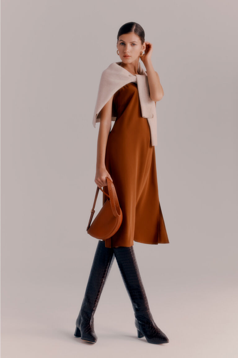 Cuyana Single-Origin Cashmere Cardigan worn with Silk Slip Dress, Half-Moon Mini Bag