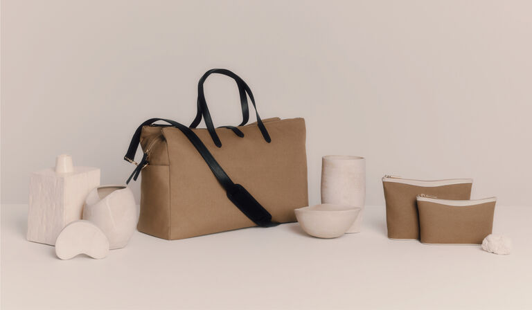 Cuyana Triple Zipper Weekender and Canvas Pouches
