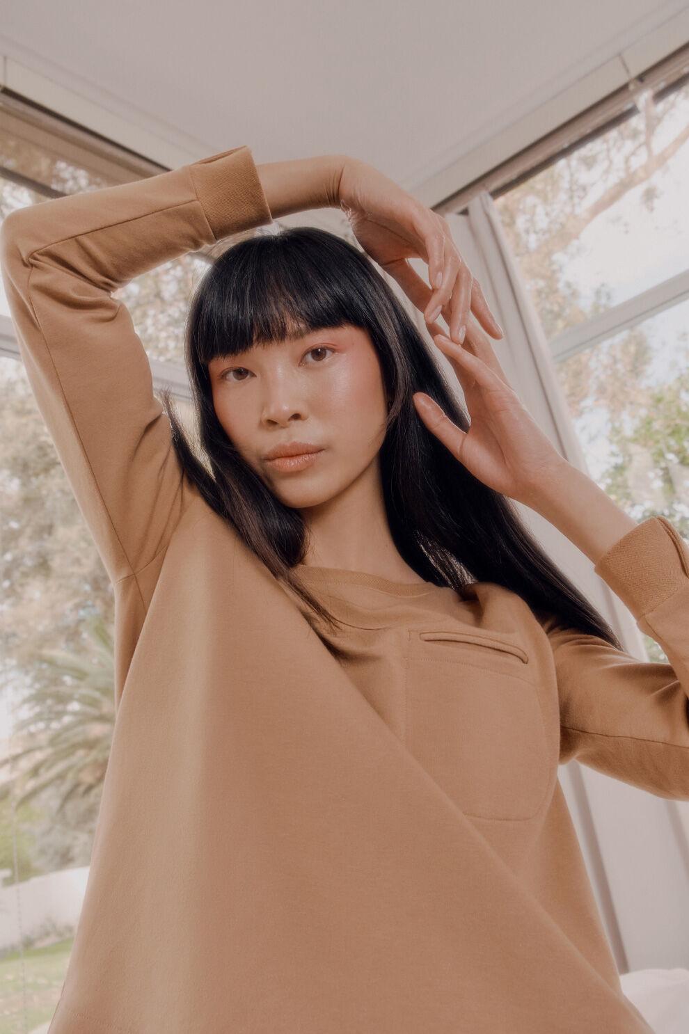 Model in French Terry Pleat-Back Sweatshirt