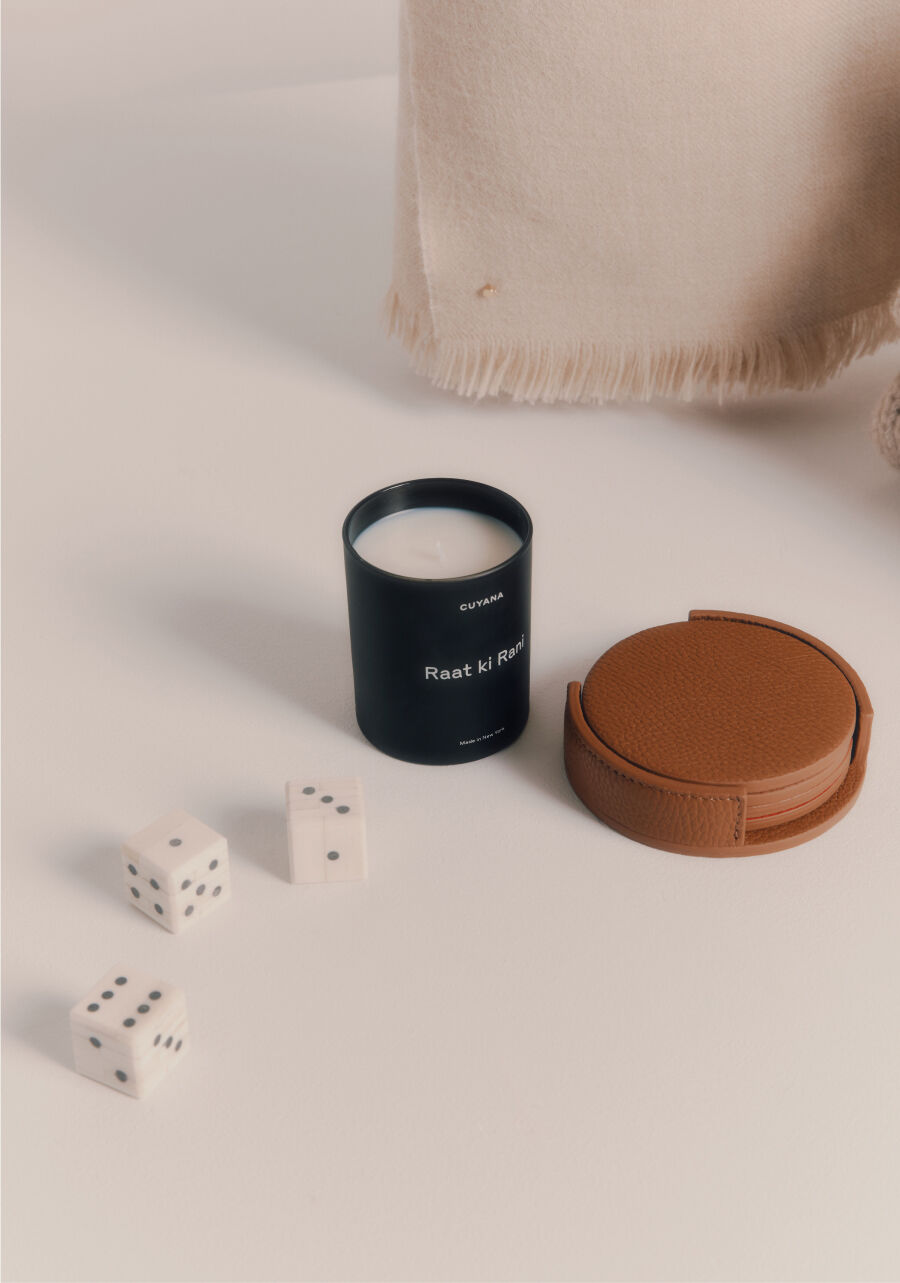Cuyana Candle and Leather Coasters