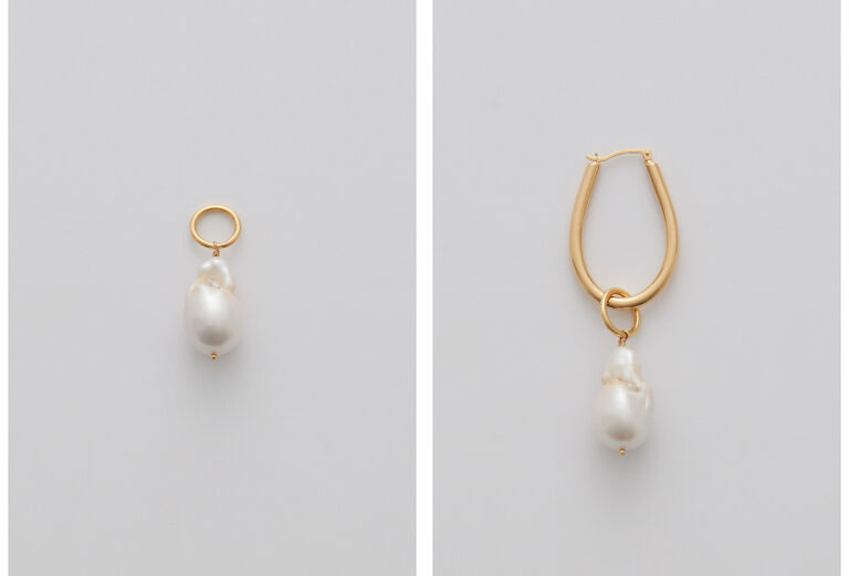 Asymmetrical Petal Hoop Earring with Baroque Pearl Embellishment
