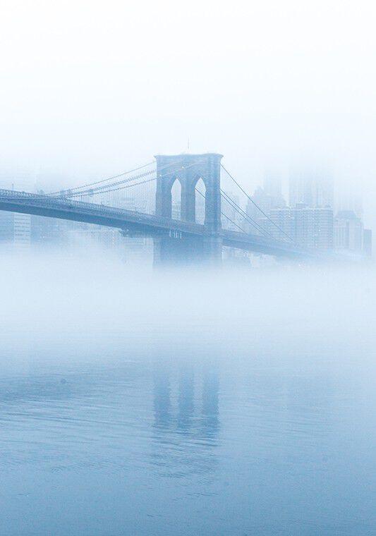 Image of Brooklyn Bridge in fog