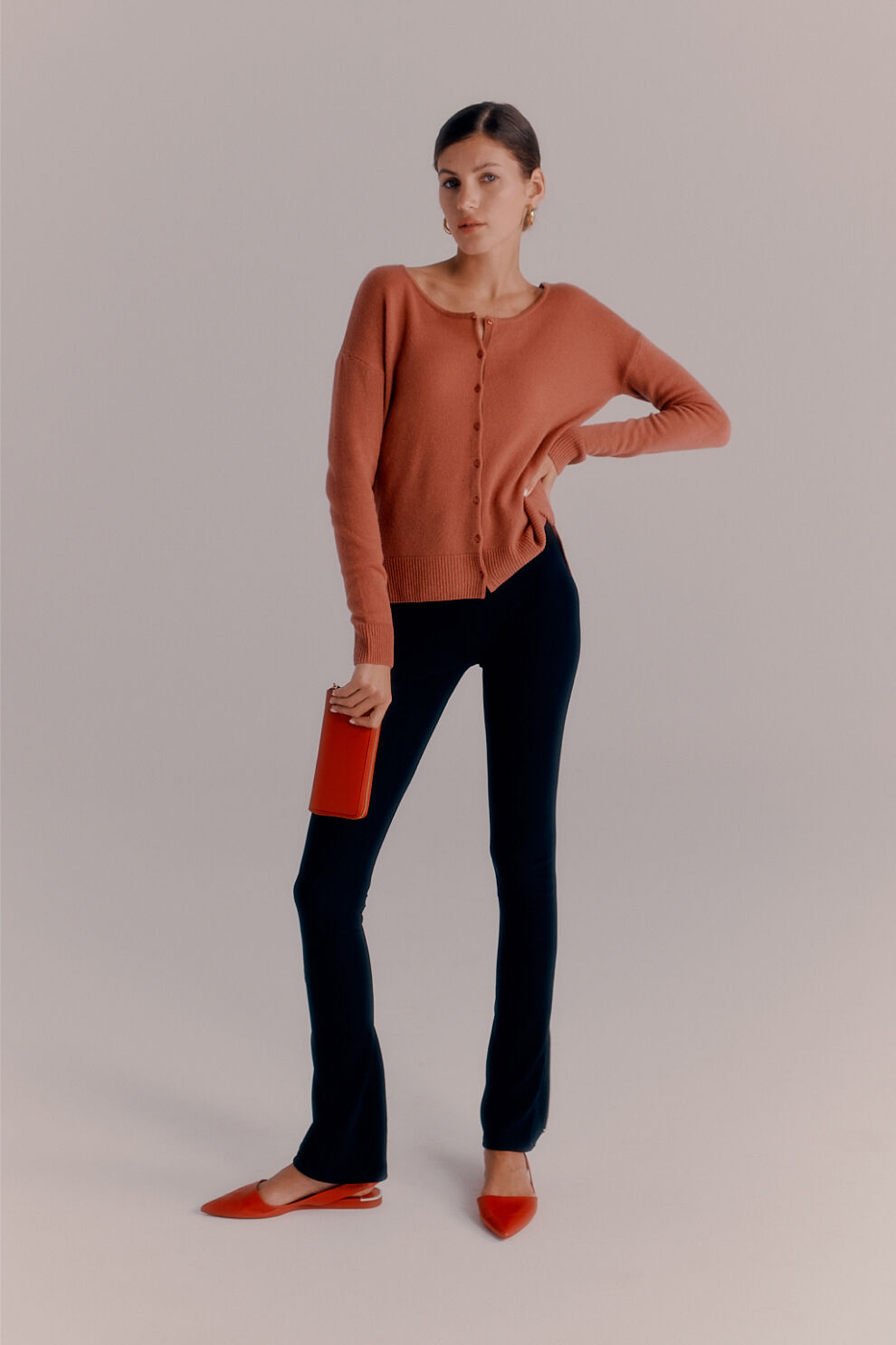 Cuyana Single-Origin Cashmere Cardigan, Ponte Legging, Cotton Twill Flared Pant, Classic Zip Around Wallet