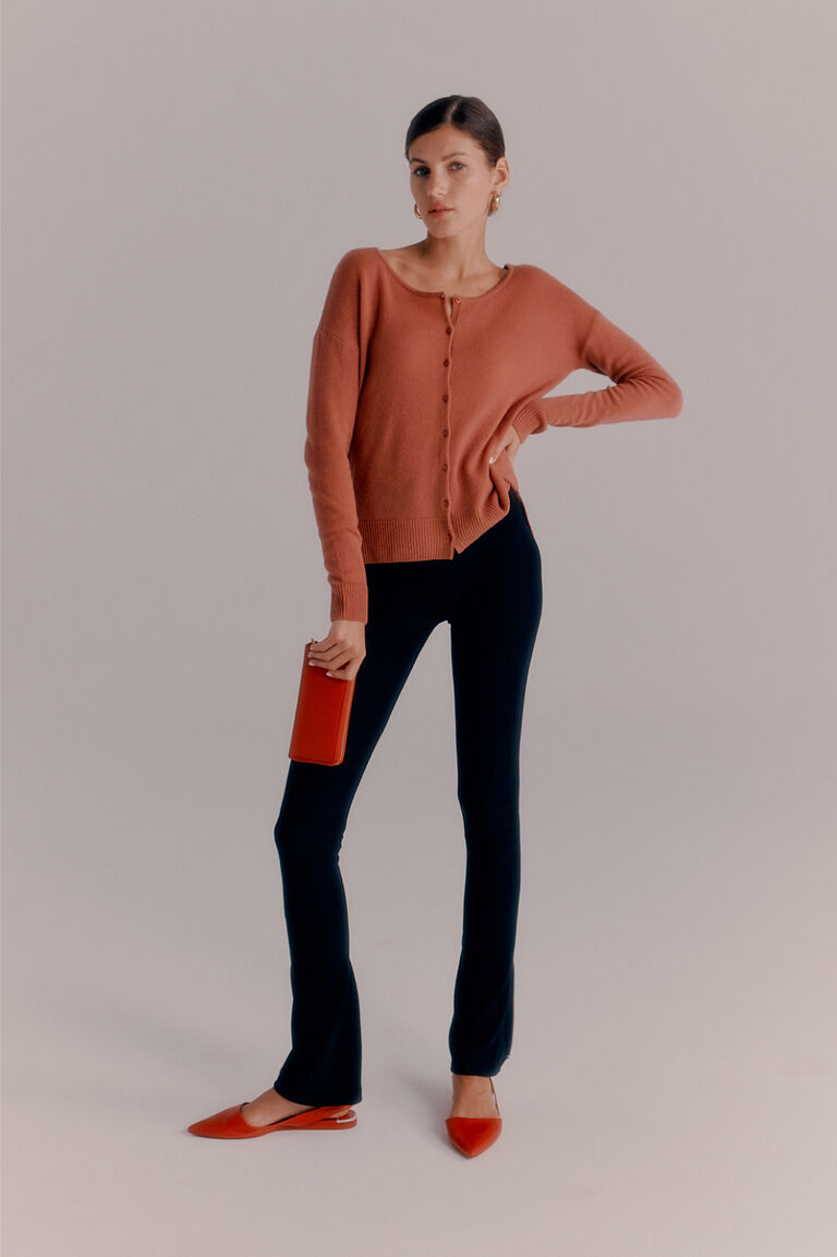 Cuyana Single Origin Cardigan worn with Ponte Legging and Classic Zip Around Wallet