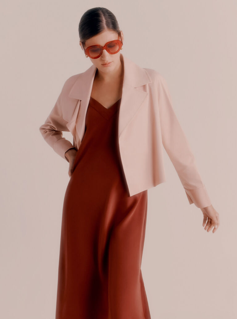 Cuyana Silk Slip Dress and Trench in Soft Rose