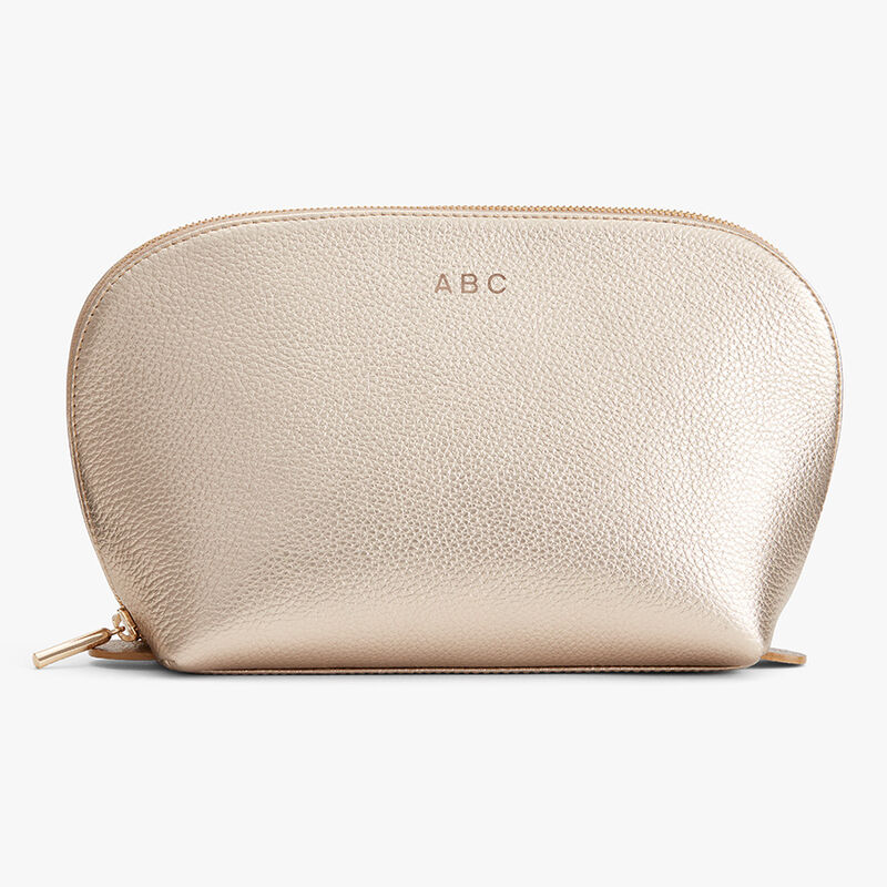 Leather Travel Case Set in Champagne