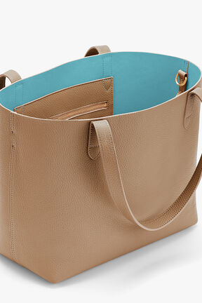 Small Structured Leather Tote, Cappuccino/Blue (Limited Edition), plp