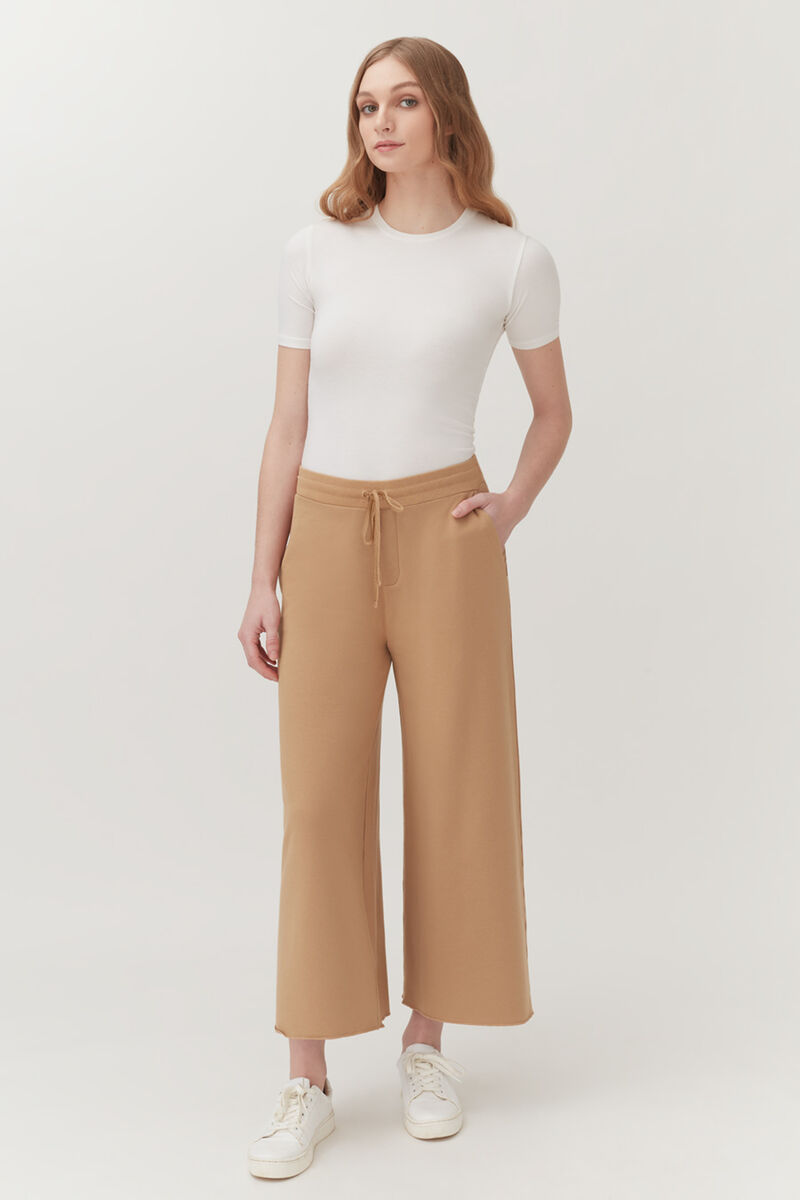 French Terry Wide-Leg Cropped Pant in Camel