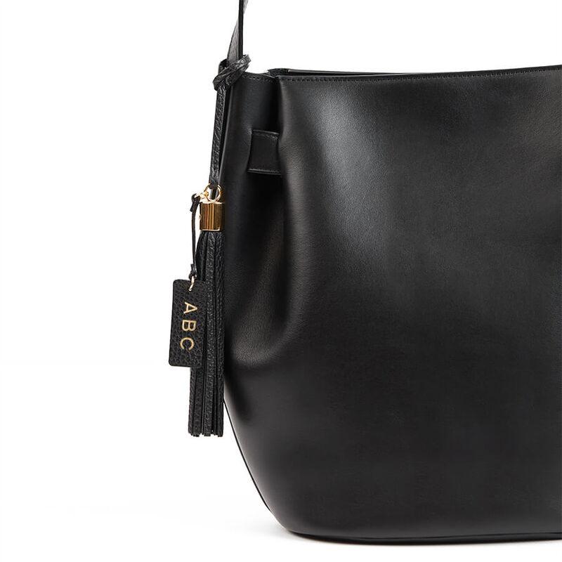 Leather Bag Tassel in Black Pebbled