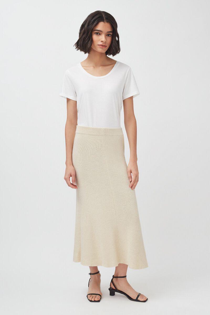 Alpaca Fit-And-Flare Skirt in Ecru
