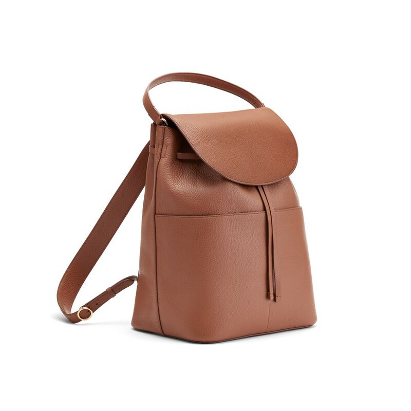 Large Leather Backpack in Caramel