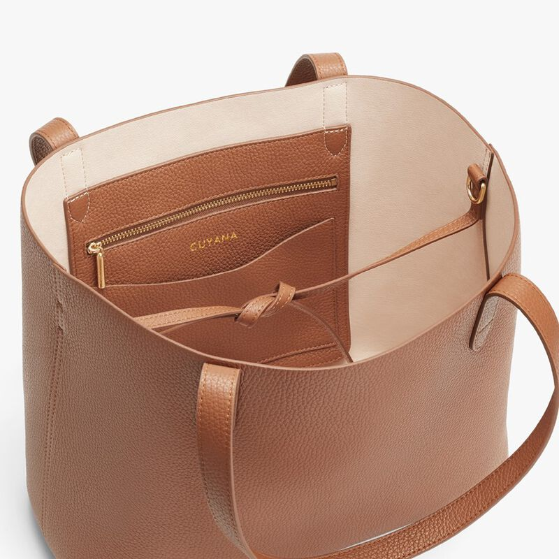 Small Structured Leather Tote in Caramel/Blush