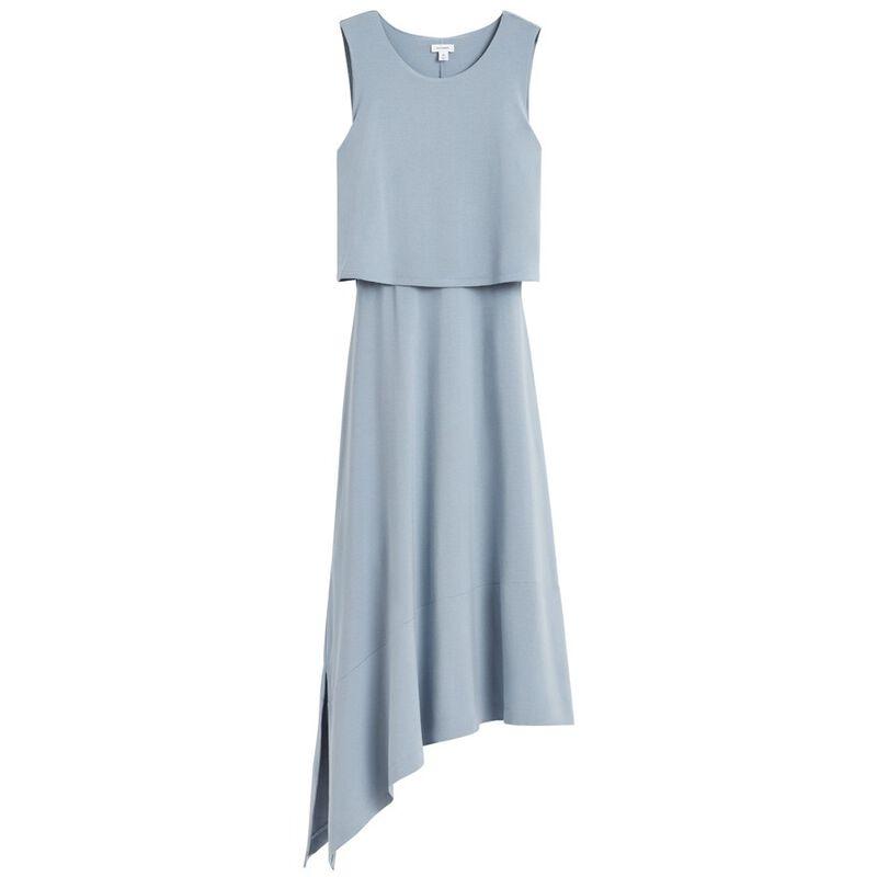 Asymmetrical Overlay Dress in Dusk Blue