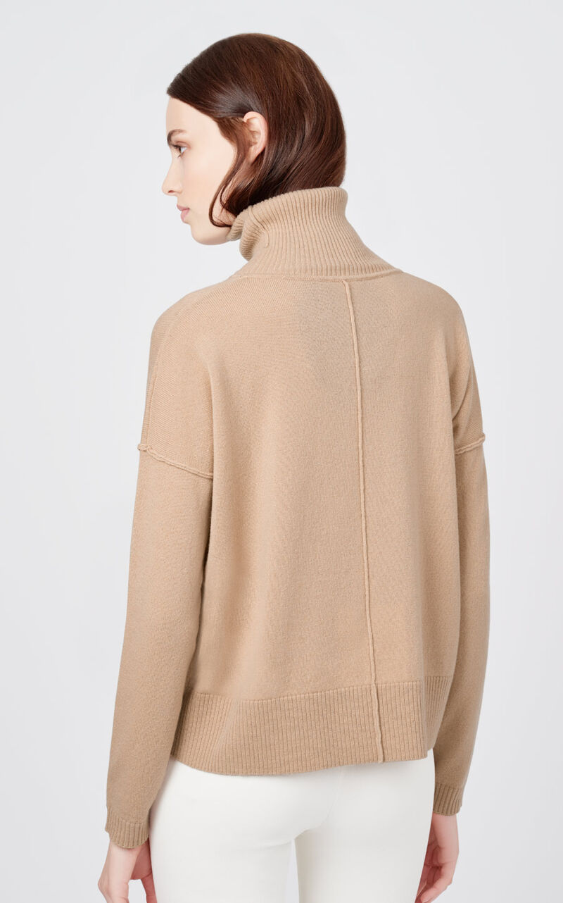 Wool Cashmere Turtleneck Sweater in Camel