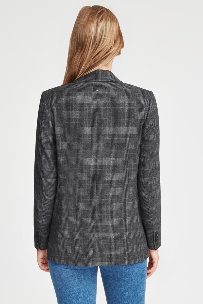 Wool Double-Breasted Blazer in Grey Plaid