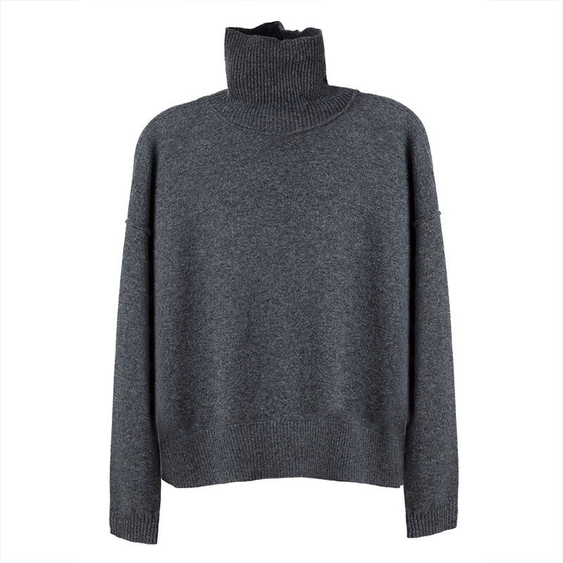 Wool Cashmere Turtleneck Sweater in Charcoal