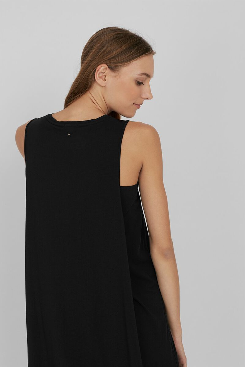 Drape-Back Dress in Black