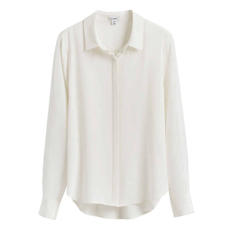 Silk Button Down Shirt in White