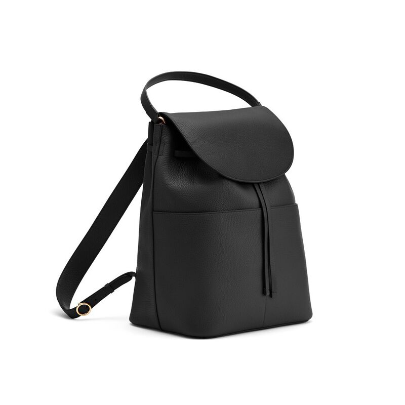 Large Leather Backpack in Black