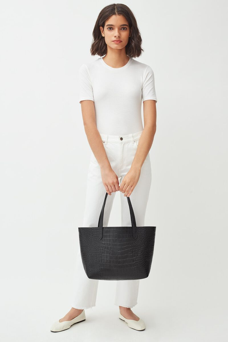 Small Structured Leather Tote in Textured Black
