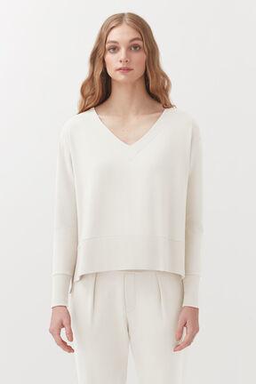 French Terry V-Neck Sweatshirt, Ecru, plp