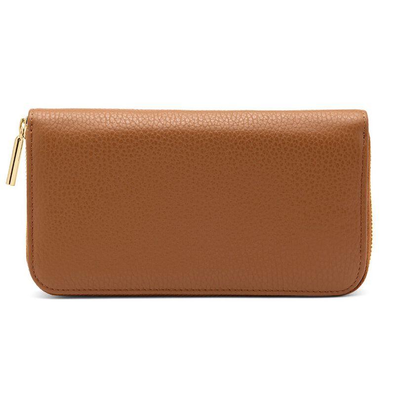 Classic Zip Around Wallet in Caramel/Red