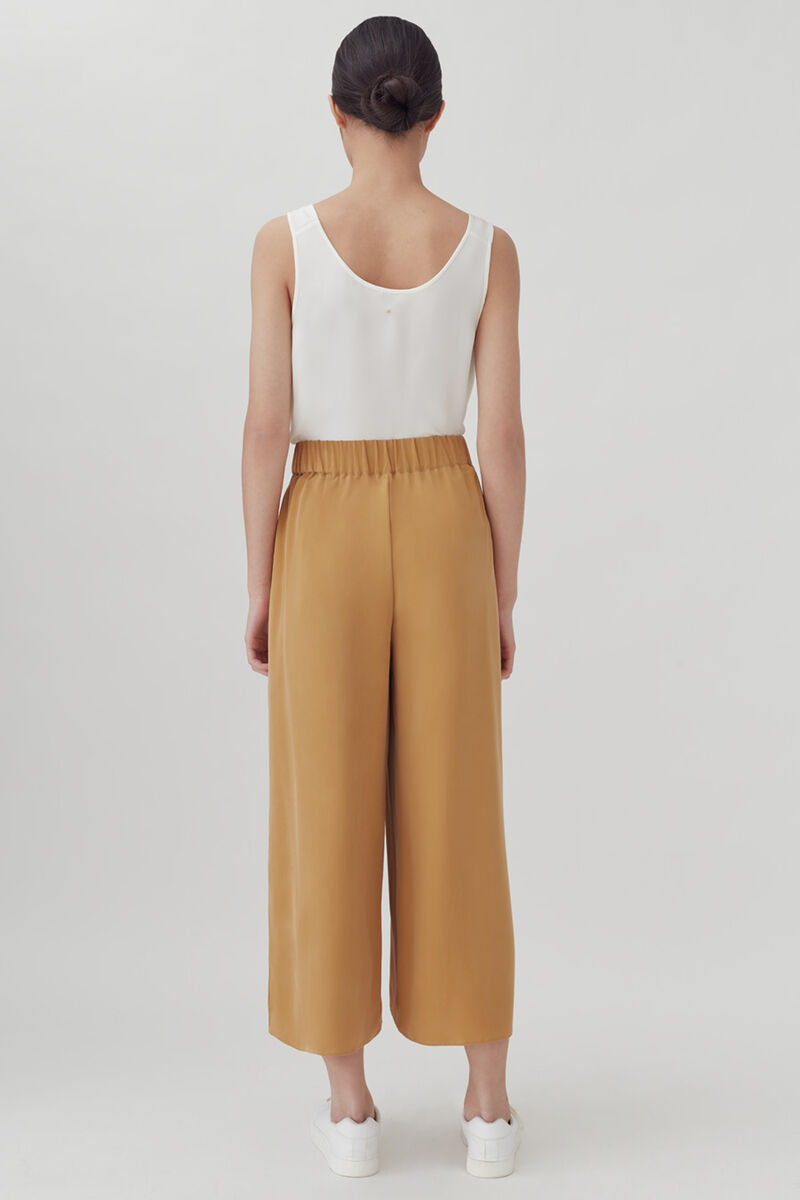 Washable Silk Wide-Leg Cropped Pant, Honey, large