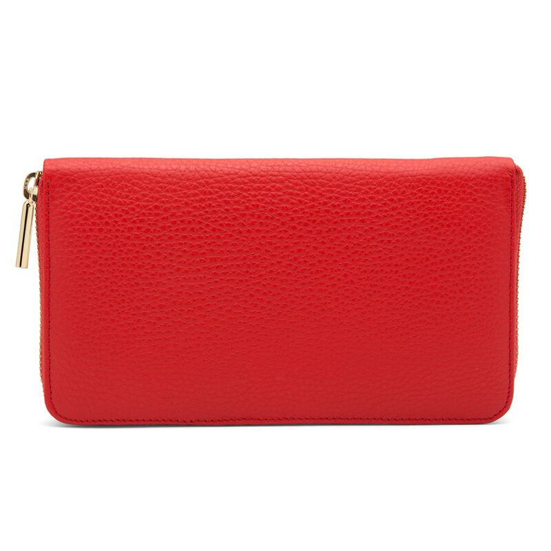 Classic Zip Around Wallet in Red/Red