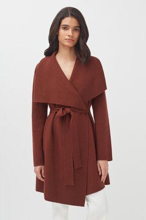 Wool Cashmere Short Wrap Coat