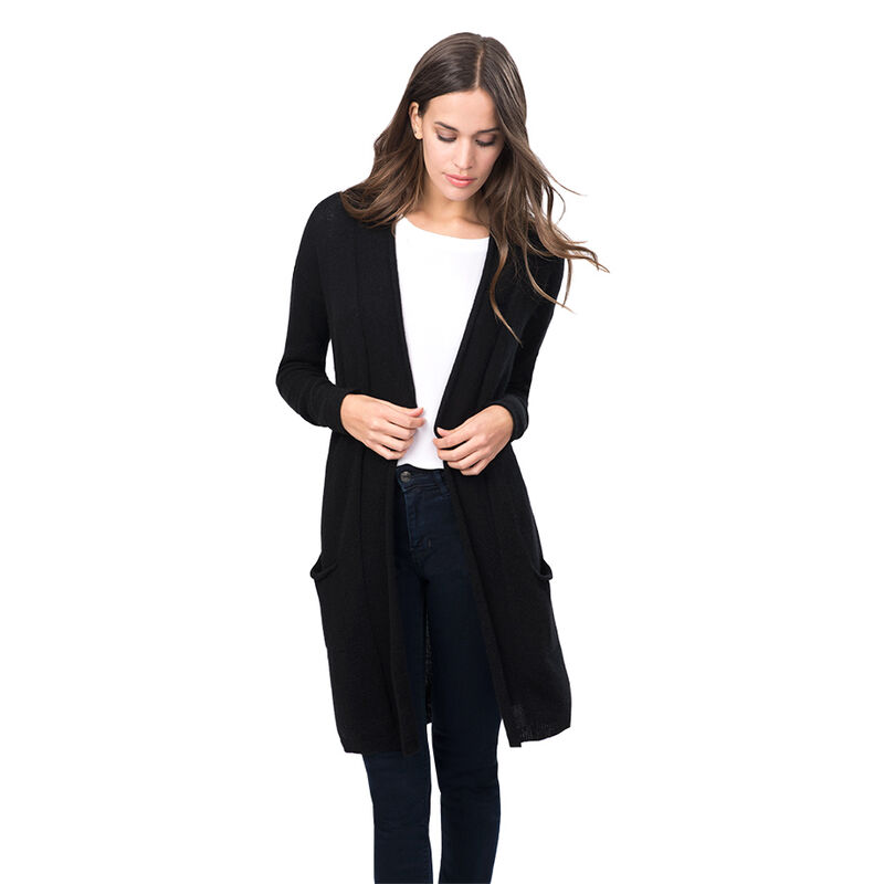 Open Cashmere Cardigan in Black