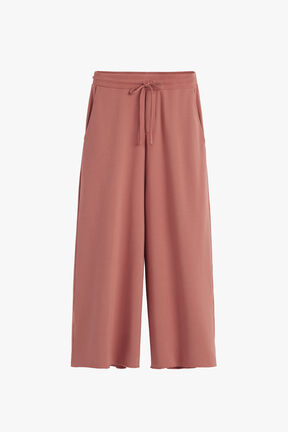 French Terry Wide-Leg Cropped Pant