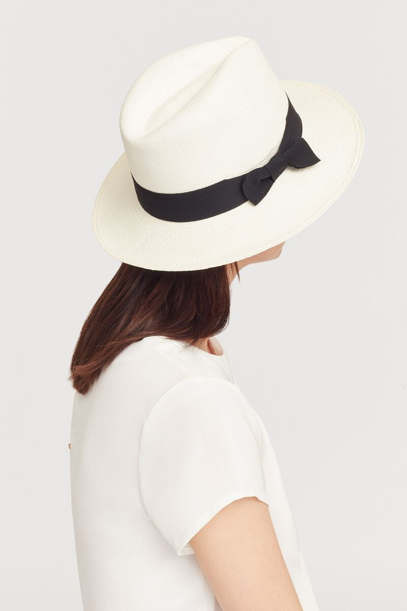 Panama Hat, White/Black, large