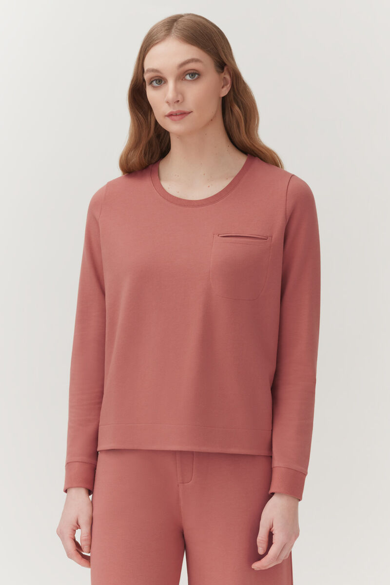 French Terry Pleat-Back Sweatshirt in Passion Fruit