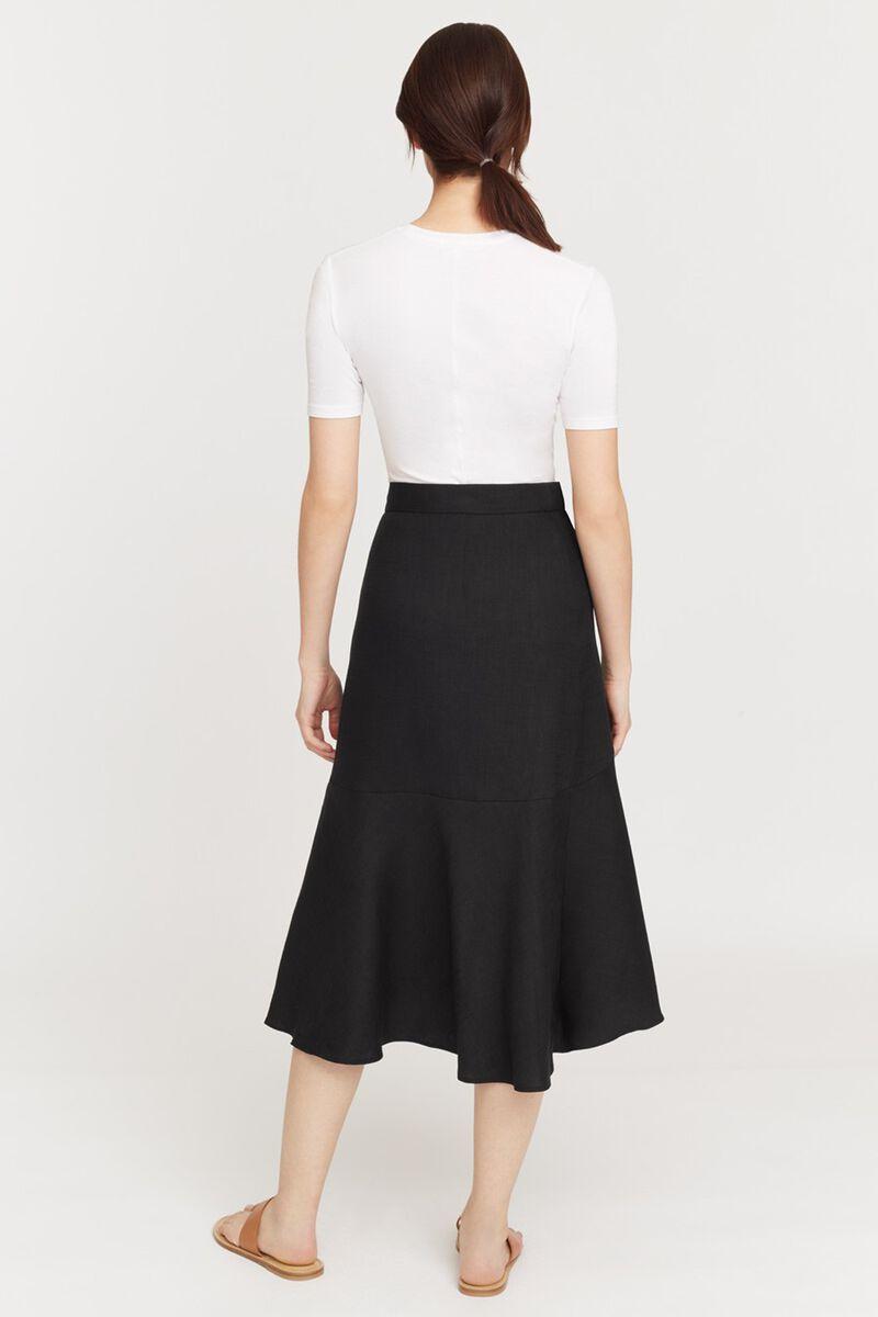 Linen Ruffle Wrap Skirt in Black