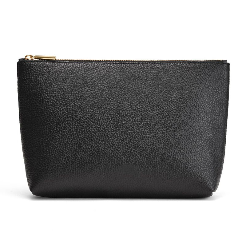 Medium Leather Zipper Pouch in Black