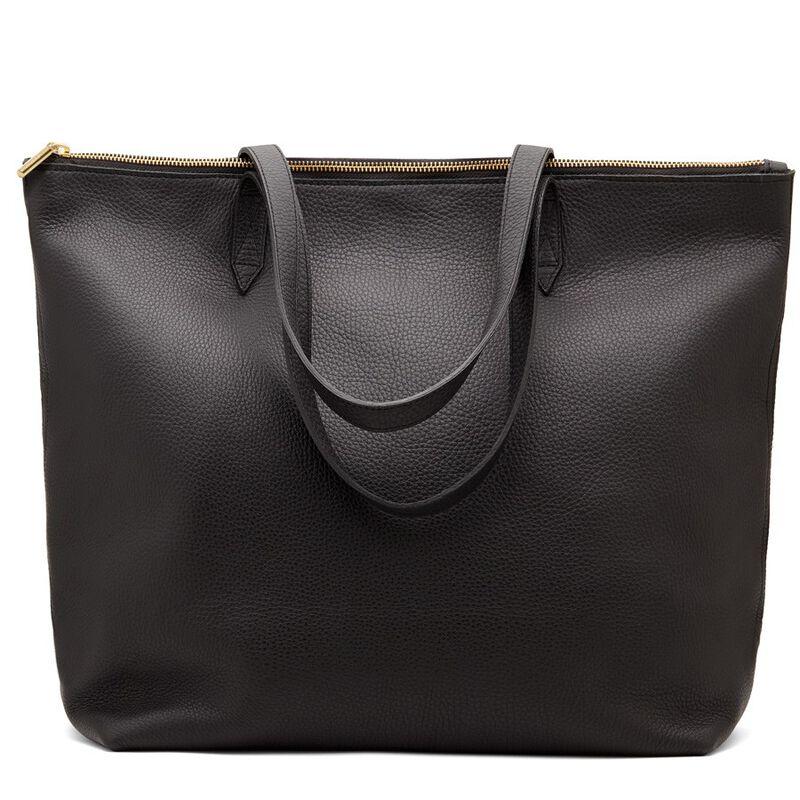 Classic Leather Zipper Tote in Black