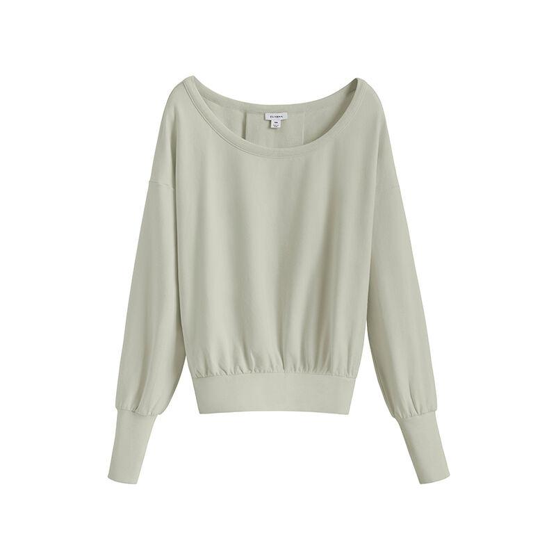 French Terry Boatneck Sweatshirt, Sage, large