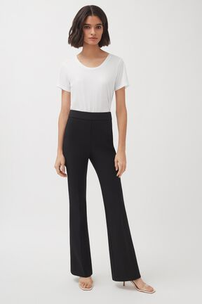 Cotton Twill Flared Pant, Black, plp