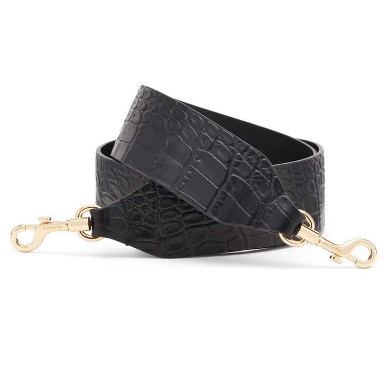 Wide Strap in Textured Black
