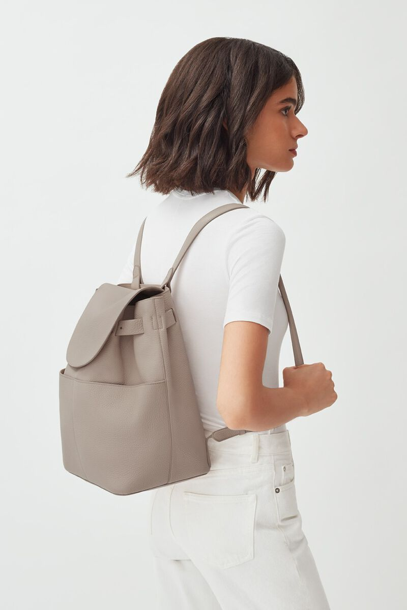 Leather Backpack in Stone