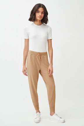 French Terry Tapered Lounge Pant in Camel