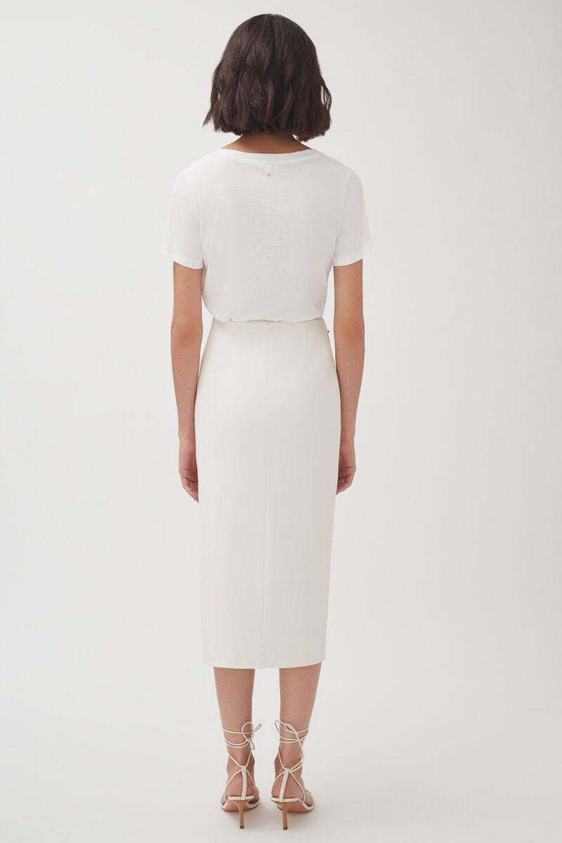 Cotton Twill Paneled Skirt, Ecru, large