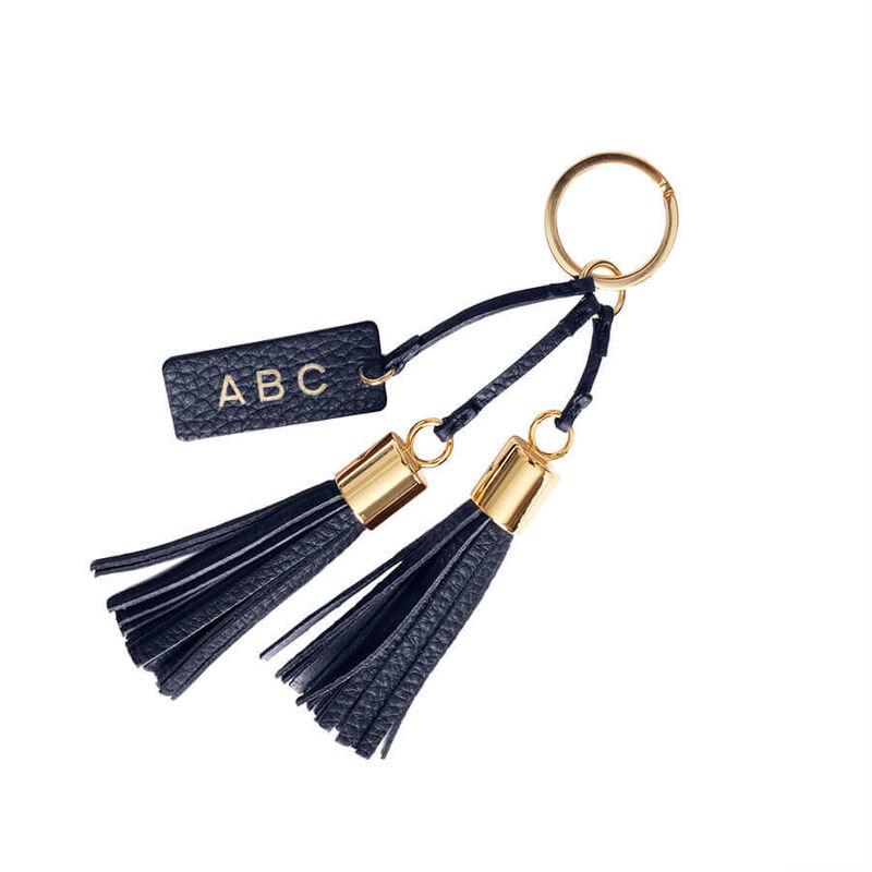 Leather Tassel Keychain in Navy