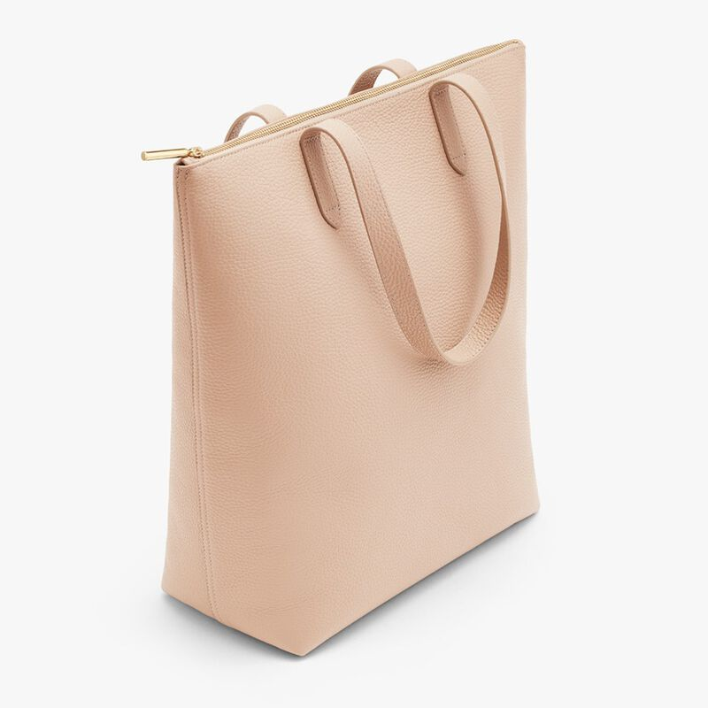 Tall Structured Leather Zipper Tote in Blush