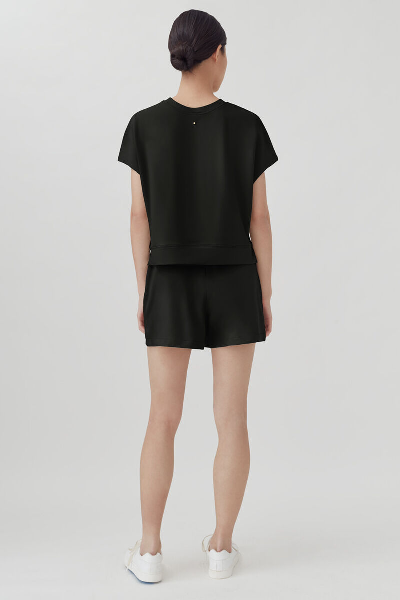 French Terry Short Sleeve Sweatshirt, Black, large