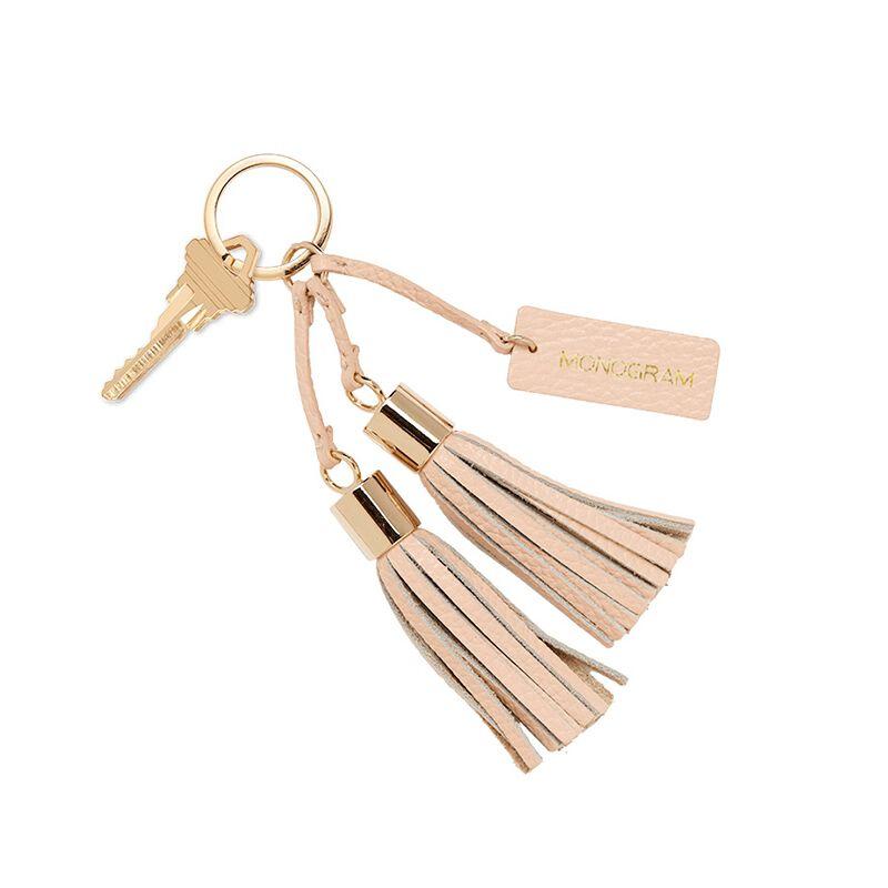 Leather Tassel Keychain in Blush
