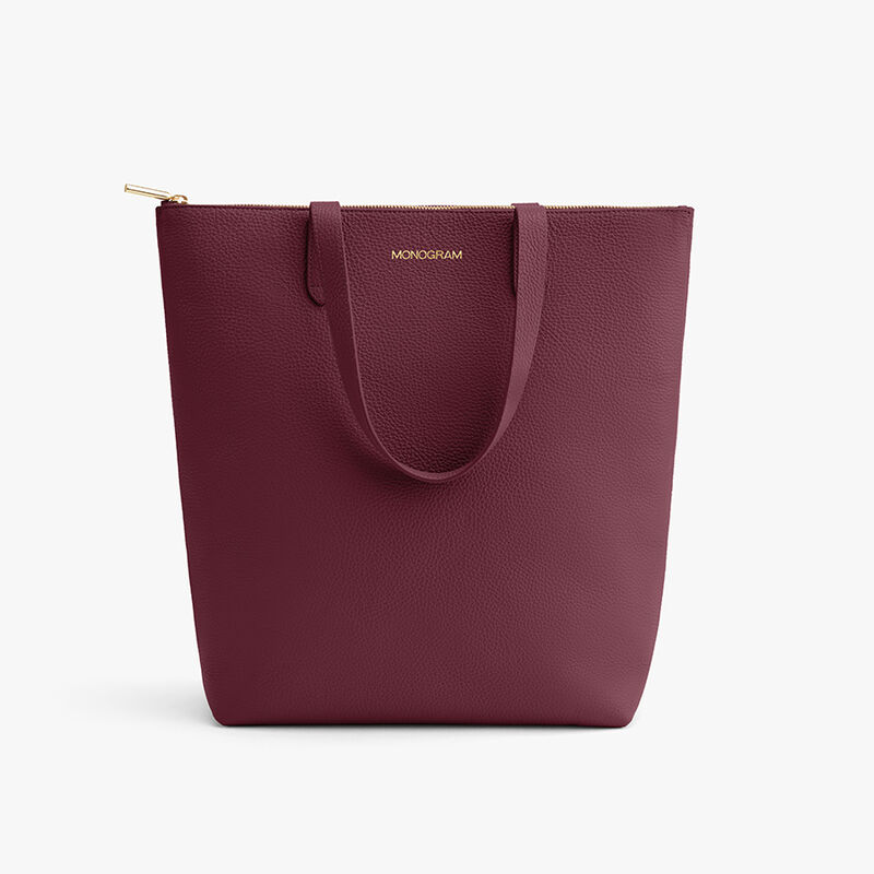 Tall Structured Leather Zipper Tote in Merlot